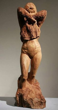 Sculpture By Hsu Tung Han Taiwan Hsu Tung Han Pinterest - Taiwanese sculpture uses wood to create sculptures of people effected by pixelated glitches