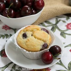 Double Cherry Muffins | Dried and fresh cherries make for a delightful treat