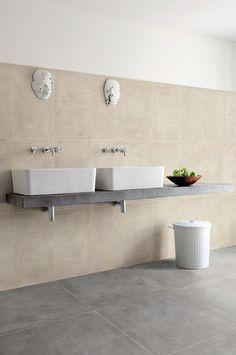 Bathroom porcelain stoneware floor tile: concrete look BLEND : CONCRETE GRIGIO CERAMICA FIORANESE