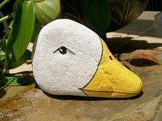 Duckie Painted Stone Rock Art.