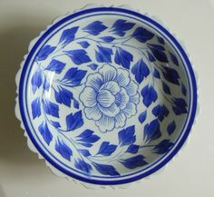 Blue 'n White Porcelain Fruit or Candy Dish on Pedestal by SpringRainVintage on Etsy https://www.etsy.com/listing/229094900/blue-n-white-porcelain-fruit-or-candy