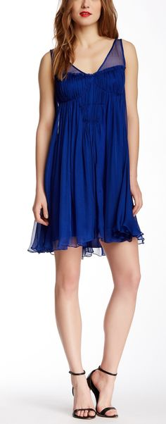 Beautiful Blue Pleated Silk Dress