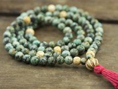 African Turquoise and Bone Full Mala | Japa Mala Beads