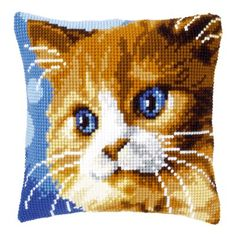 Brown Cat Pillow (counted cross stitch kit) by Vervaco