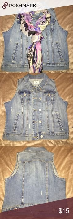 Distressed Jean Vest Distressed Jean Vest by Old Navy Size Medium with Free Scarf-Never Wore Vest Old Navy Jackets & Coats Jean Jackets