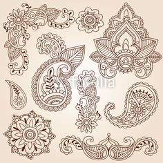 "Wall Mural ""indian, vector, ornament - henna mehndi doodles paisley design elements"" ✓ Easy Installation ✓ 365 Days Money Back Guarantee ✓ Browse other patterns from this collection!"