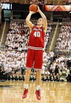 Indiana Hoosiers forward Cody Zeller (40) shoots a three point basket against the Michigan State Spartans during first half at Jack Breslin Students Events Center.