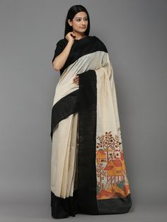 Off White Black Handwoven Banarasi Tussar Silk Saree