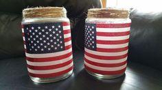 memorial day fourth of july luminaries, decoupage, how to, mason jars, patriotic decor ideas, repurposing upcycling, seasonal holiday decor