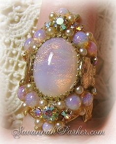 Antique Style Sunset in the Bahamas Blush Pink Glittering Vintage Art Glass Opals Ring - Romantic Pearls - Sand Dollars