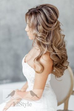 simple half up half down wedding hairstyle