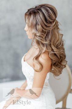 simple half up half down wedding hairstyle
