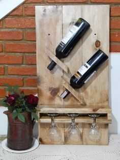 wooden wall cellar for 2 bottles-three glasses - Madeira - Wein Wooden Pallet Furniture, Log Furniture, Diy Pallet Projects, Wood Projects, Wine Bottle Glass Holder, Bottle Cap Projects, Pallet Wine, Rustic Wine Racks, Mini Bars