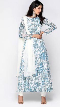 White & Blue Tropical print Suit is part of Simple indian suits - New Wedding Dress Indian, Dress Indian Style, New Wedding Dresses, Indian Dresses, Stylish Dresses, Simple Dresses, Fashion Dresses, Long Dresses, Fashion Clothes