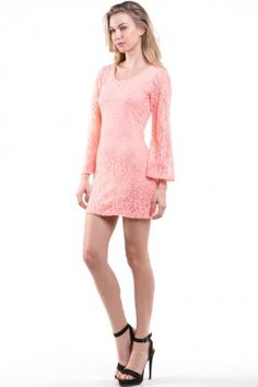 CORAL FLORAL PATTERN LACE SHIFT DRESS WITH FULL LINING & BELL SLEEVE
