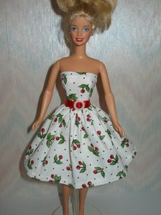 Handmade Barbie clothes  white and red cherry by TheDesigningRose, $6.00