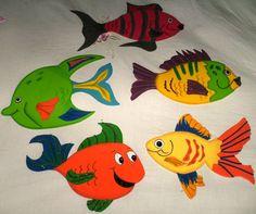 fomi moldes | Alba Foami: PECES Vand, Monster High, Rooster, Presentation, Kids Rugs, Painting, Alba, Color, Feltro