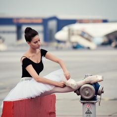 Ballerina at the airport - See more on www.facebook.com/urb.butterflies