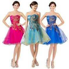 Short Prom Dress Peacock Cheap Beading Embroidery Tulle Party Gown Black Red Pink Blue Turquoise Prom Dresses 2016