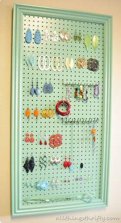 Peg Board Earring Holder   10 DIY Earring Holder Ideas   Dollar Store Jewelry Organizing Ideas by DIY Ready at http://diyready.com/diy-earring-holder-ideas/