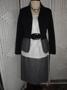 This is another ensemble for Doncaster's   8 GR8 Style Pieces. Includes: Suit Jacket, Suit Skirt, T-Shirt, belt and necklace.