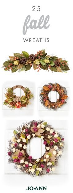 Welcome Thanksgiving and fall party guests in style with this collection of 25 Fall Wreaths from Jo-Ann. Thanks to their rustic and autumnal color scheme, any one of these decorations would be ideal for boosting your fall curb appeal.