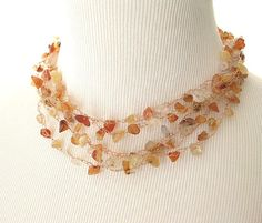 Red Agate Crochet Wire Necklace