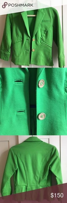 Diane Von Furstenberg Green Blazer Fun and cute (and authentic!) Diane Von Furstenberg green blazer with cropped sleeves. Size 2 - fits true to size. Has only been worn once!! Diane Von Furstenberg Jackets & Coats Blazers