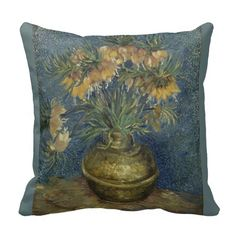 Imperial Fritillaries in #Copper #Vase by Van Gogh Throw #Pillows #vangogh #throwpillow