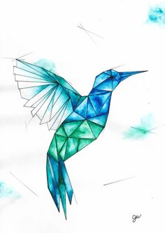 Geometric Drawing, Geometric Painting, Geometric Art, Geometric Animal, Geometric Designs, Geometric Tattoos, Watercolour Tattoo Geometric, Geometric Hummingbird Tattoo, Hummingbird Painting