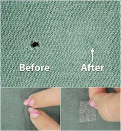 Réparer un petit trou dans un t-shirt sans couture.14 Astuces pour faire ses propres retouches de vêtements