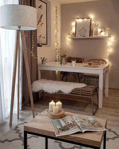 35 Inspiring Small Dining Room Design And Decor Ideas - Your dining room is a space for family meals therefore you are looking for it to have great interior design. But how can you make a small dining room . Dining Table In Living Room, Dining Table Lighting, Small Dining, Living Room Decor, Bedroom Decor, Ikea Bedroom, Bedroom Furniture, Dining Chairs, Home Living