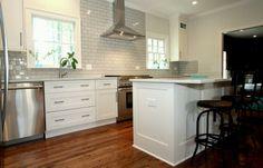 #Kitchen #barstools #subwaytile #countertops #hardwoodfloors #modern #white #clean