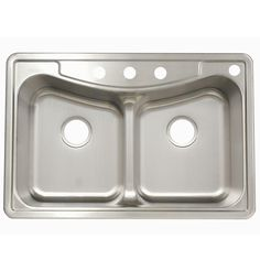 FrankeUSA Top Mount Stainless Steel 22x33x9 4-Hole Double Bowl Kitchen Sink-FBFG904BX - The Home Depot