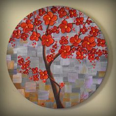 """ORIGINAL Modern Textured Art Red Tree Painting Landscape Home Decor 20"""" Round Canvas, Abstract Palette Knife Artwork, unique gift by ZarasShop"""
