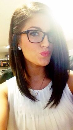 Brown long bob #lob hair with side parting and cute geek glasses