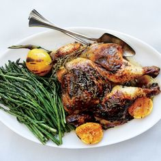 Talk about a spring chicken. The sour-sweet rhubarb butter seasons and bastes the meat as the bird roasts.