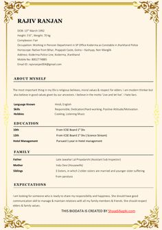 Resume Templates Site: Biodata Format for Marriage Premium Templates Resume Format Free Download, Biodata Format Download, Resume Template Free, Free Resume, Bio Data For Marriage, Online Marriage, Marriage Biodata Format, Job Resume Format, Sample Resume