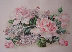 Print FREE SHIP Pink Cabbage Roses Lilacs by VictorianRosePrints, $11.99