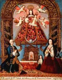 """Anónimo SXVIII Altoperuano, Bolivia """"Don Manuel de Salzes y Familia"""" 1767 Óleo sobre tela y pan de oro."""