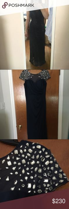 Blue and black dress 77 inches