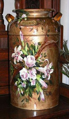 painted milk cans - Yahoo Image Search Results One Stroke Painting, Tole Painting, Diy Painting, Painting On Wood, Painted Milk Cans, Paint Cans, Milk Can Decor, Decoupage, Old Milk Cans