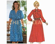 Sewing Pattern for 70s Dress with Elastic Waist, Simplicity 9062 #70sFashion #1970sDresses #Dressmaking #PlusSizeSewing #TheOldLeaf