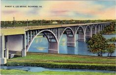 Robert E. Lee bridge, vintage postcard