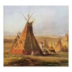 Karl Bodmer: Assiniboin camp: Tipi of a chief. Art Print, Canvas on Stretcher Native American Teepee, American Indian Art, Native American Indians, American History, Plains Indians, American Life, Early American, Le Far West, Exhibition Poster