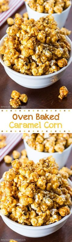 Oven Baked Caramel Corn: One of our families favorite sweet & salty snacks! Make… Oven Baked Caramel Corn: One of our families favorite sweet & salty snacks! Makes a perfect gift too! Salty Snacks, Yummy Snacks, Delicious Desserts, Snack Recipes, Dessert Recipes, Cooking Recipes, Yummy Food, Popcorn Recipes, Popcorn Snacks