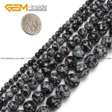 Snowflake Obsidian Beads Round Selectable Size 3 4 6 8 10 12mm,Natural Stone Beads For Jewelry Making Diy Bracelet Free Shipping(China (Mainland))
