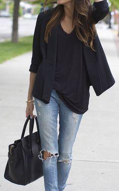 Casual blazers + distressed skinny jeans.