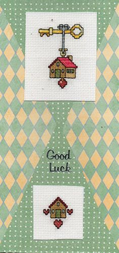 New Home, Good Luck Cross Stitch Cards - Handmade, Assorted Colours