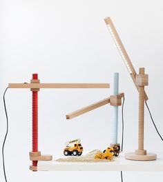from tables to desk lamps, the series of screw furniture pieces reference a carpenter's tool used by the designer's father.